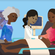 illustration of a multigenerational Black family at a prenatal doctor's appointment