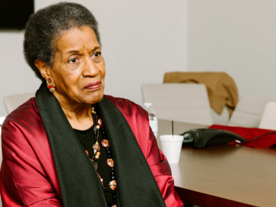 Myrlie Evers-Williams, civil rights activist, sitting for an interview.