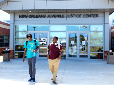 Dante Hills and Shawn Kelly outside of the New Orleans Juvenile Justice Center