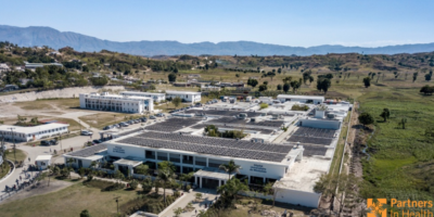 Aerial view of the University Hospital in Mirebalais in Haiti.