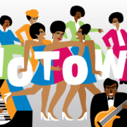 Illustrative graphic that features popular Motown performers such as the Supremes, Jackson Five and Stevie Wonder.