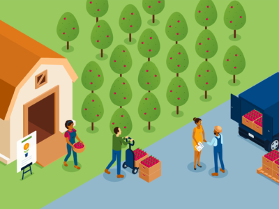 An illustration of a apple orchard farm with people loading a truck with boxes of apples.
