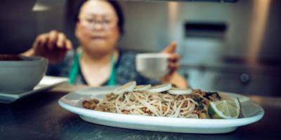 A plate of a noodle dish at Shwe Mandalay Burmese Cuisine restaurant in Battle Creek, Michigan.
