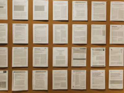 Research paper pin to the wall for a report for the New England Blacks in Philanthropy, located in Boston.