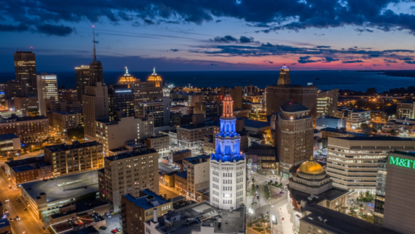 Electric Tower lit up in colors of Community Foundation of Greater Buffalo