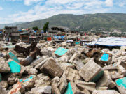 A pile of rubble of destroyed homes from the 2010 earthquake in Haiti.