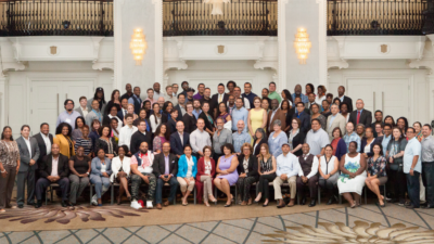 A group photo of the WKKF Community Leadership Network class one fellows in Detroit, Michigan.