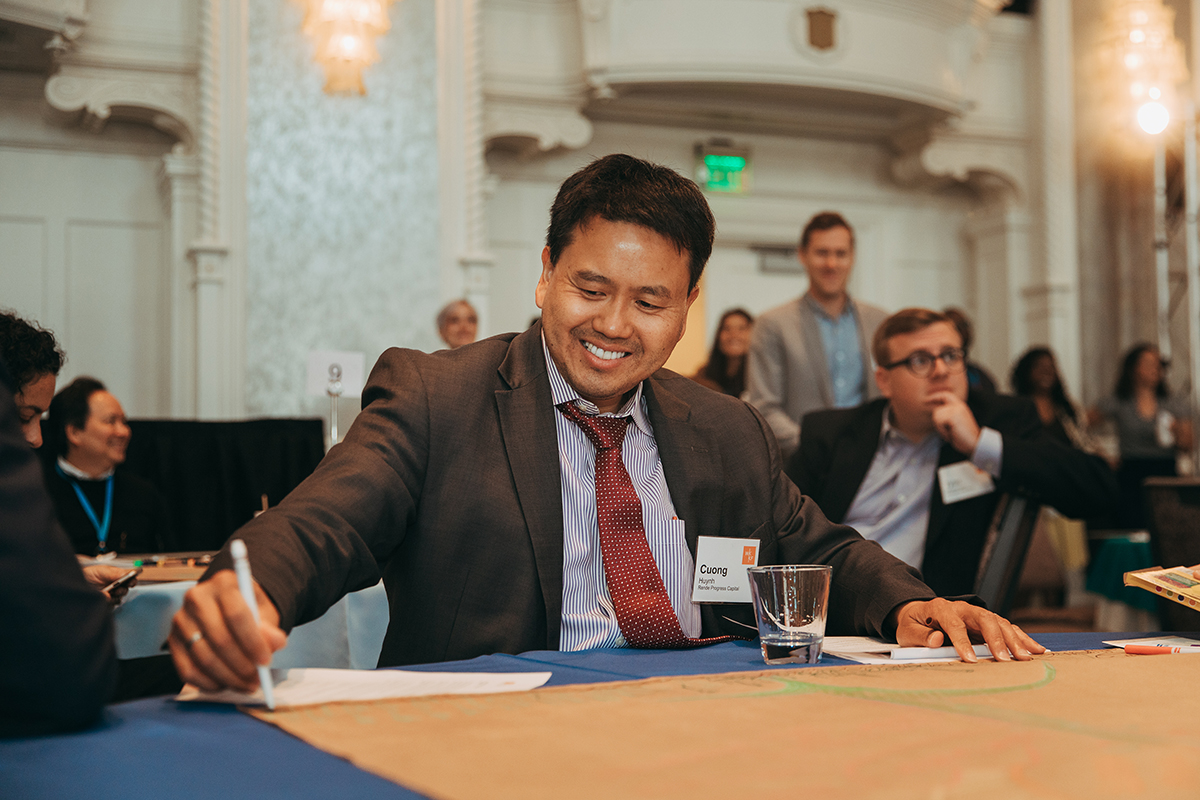 CQ Huynh at the 2019 MDI Portfolio Summit, the inaugural WKKF Mission Driven Investment Portfolio Summit at the Westin Book Cadillac in Detroit, Michigan.