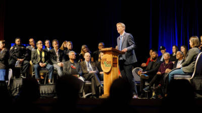 Mayor Tim Keller delivers a speech at the State of the City Address 2020 in Albuquerque.