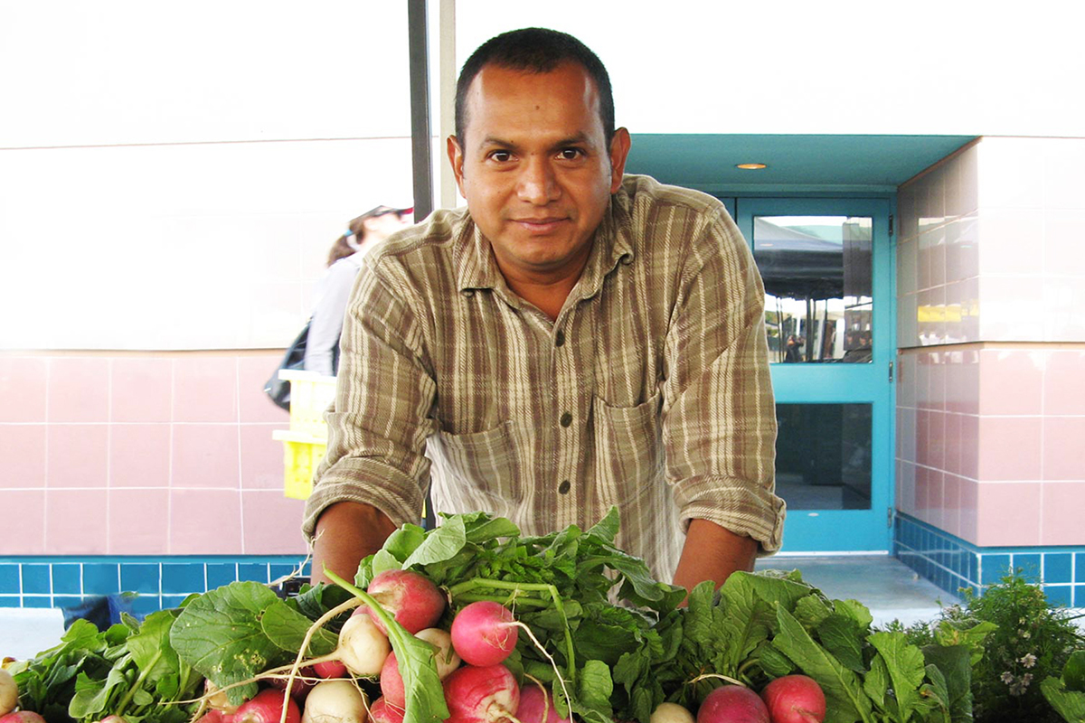 A vendor sells radishes at the Santa Monica Farmers Market. LAFPC's work with farmers' markets has increased the availability of fresh, sustainable produce in Los Angeles County. Photo: Haan-Fawn Chau.