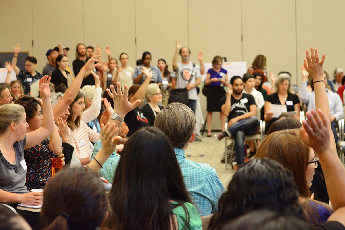 Members of LAFPC take a vote during a Working Group Summit in August 2015. The networking event brought together hundreds of people committed to food systems change. Photo: Daniel Rizik-Baer.
