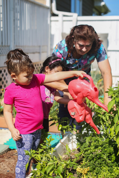 Two children and an early care and education provider water their growing garden of green peppers at My Little Geniuses in Marietta, GA. Photo courtesy of Quality Care for Children.